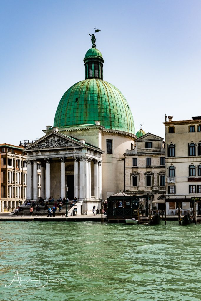 San Simeone Piccolo stands on the banks of the Grand Canal in Venice, Italy.