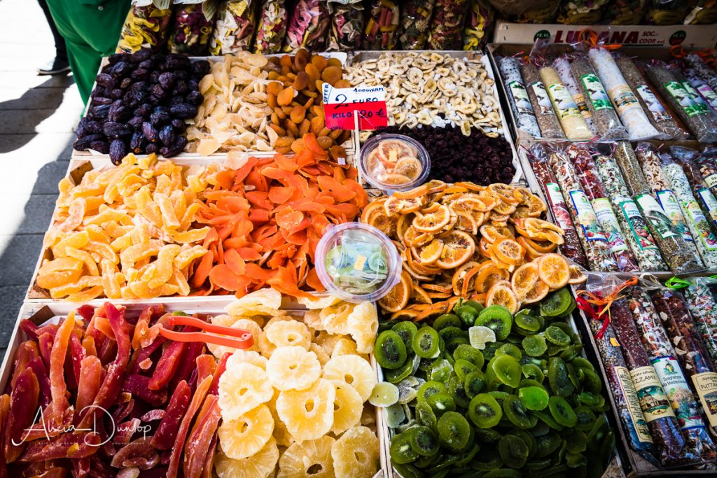 Candied fruits at the Fruit & Vegetable Market (Erberia) - Venice in Spring series things to do in Venice