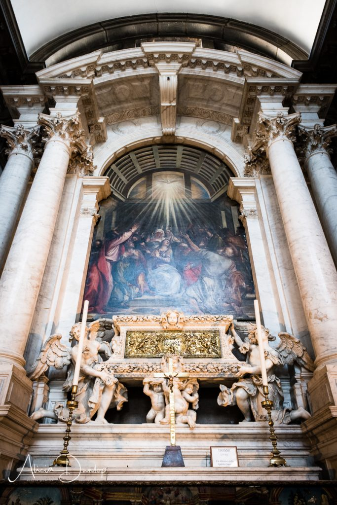 Paintings by Titian adorn the inside of Santa Maria della Salute
