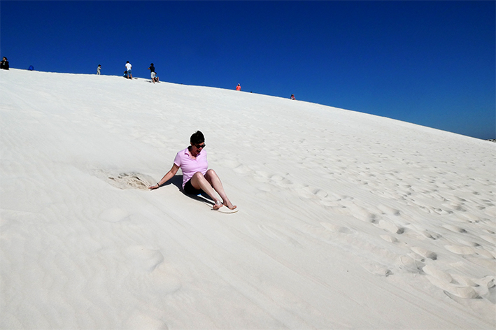 Me sand boarding! So much fun - I loved it!