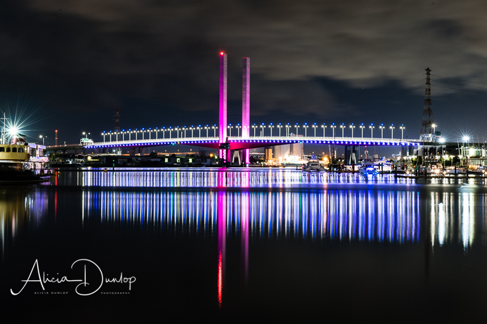 Melbourne's Bolte Bridge at night